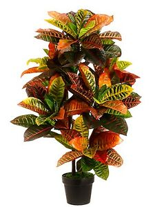 ARTIFICIAL 3' CROTON INDOOR OUTDOOR UV RATED TOPIARY TREE BUSH PALM IN POT 5 6 4