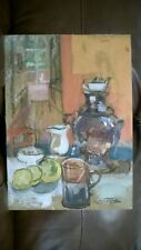 "Old Vintage Original Oil Painting ""SAMOVAR WITH ORANGES?"" Signed. by N.Sokoloff"