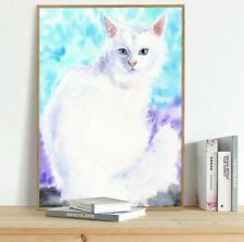 Turkish Angora, Watercolor Cat, Cat Print, Cat Lover Gift, Cat Mom,Mom gift