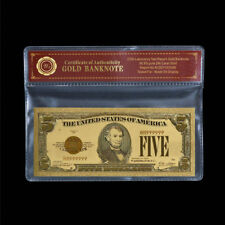 WR 1928 Red Seal $5 Five Dolllar Bill Notes 24K Gold Foil Color Banknote /w COA