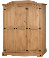 Mercers Furniture® Corona Mexican Pine 3 Door Arch Top Wardrobe