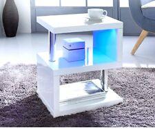 Alaska design moderno bianco lucido Caffè/Side Table Luci LED Blu per la casa