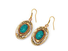"Turquoise Mixed Metal Drop Earrings Stainless,Copper & Brass 1.25"" Long,Handmade"
