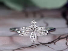 1ct Marquise Cut VVS1 D Diamond DragonFly Engagement Ring 14ct White Gold Over