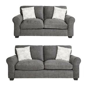 Tammy Fabric 2 Seater and 3 Seater Sofa -Charcoal