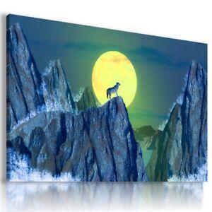 WOLF MOON MOUNTAINS WINTER FANTASY PRINT Canvas Wall Art Picture AB582 MATAGA