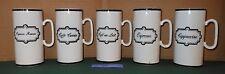 5 Black and White Tall Skinny CAPPUCCINO ESPRESSO Cup Mugs