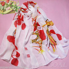 F RED - Flower Silk Chiffon Neck Scarf Wrap Shawl Stole Wrap Women