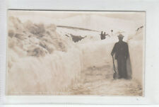 Man With Shovel Snow Cutting On Cairnwell Pass Glenshee Blairgowrie Real Photo