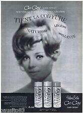 PUBLICITE ADVERTISING 105  1963  HELEN CURTIS   laque HAIR SPRAY GO GAY en NB