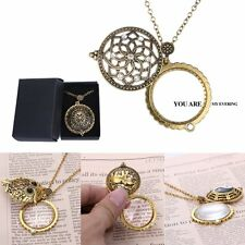 Vintage Magnifying Glass Crystal Gold Dragonfly/Owl/Flower Pendant Necklace Box