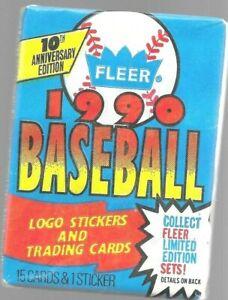 1990 Fleer Baseball Unopened Pack 16 Cards 1 Sticker Vintage
