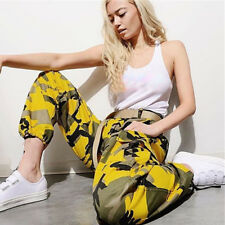 Women Girl Sports Camo Cargo Long Pants Outdoor Casual Camouflage Trousers Jeans