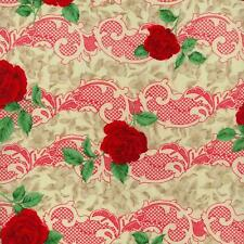 RJR Legacy Rose Floral Red Cream White Lace Floral Bouquet Quilt Fabric 1688-1