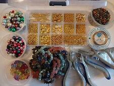 Superb Jewellery Making LARGE KIT Storage Box Gemstone Chips Tools Gold Plated