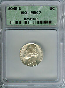 GEM+ BU 1945-S Jefferson Silver War Nickel!