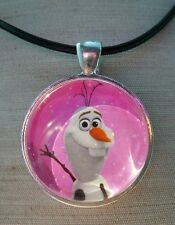 **  OLAF  ** Disney's Frozen. Glass Pendant with Leather Necklace