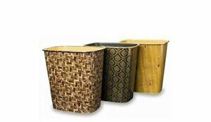 Luxury Gold Modern Classic Oblong Waste Paper Bin Trash Can Basket Home Office
