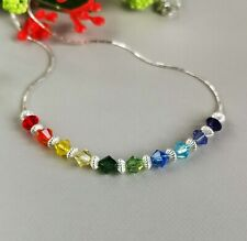 925 Sterling Silver Necklace Multi-Coloured Genuine Crystal bright