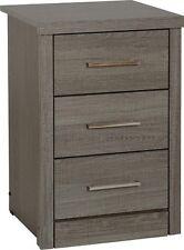 Grey Wood Grain 3 Drawer Bedside Chest W40cm X D40cm X H61cm LACEY