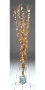 LED Xmas Twig Light Decorations, 1.2m Gold Glitter