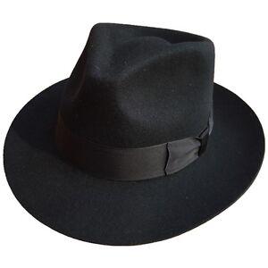 Classic Black Men's Wool Godfather Gangster Gentleman Fedora Hat