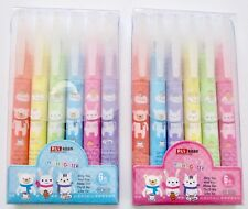 RUI cartoon rabbits, cats, bears cute kawaii kitsch set of 6 highlighter pens