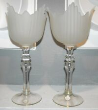 2 VTG Crystal Clear Vases/ Candle Holders Frosted Tulips Tops Made Romania RARE