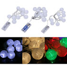 BATTERY COTTON BALL FAIRY 10-LED STRING LIGHTS WEDDING PARTY PATIO CHRISTMAS