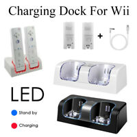 For Nintendo WII Remote Controller 2 Batteries+Charger Charging Dock Station New