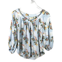 Anthropologie Maeve Boswell Floral Peasant Boho Top Size 0 Scoop Neck 3/4 Sleeve