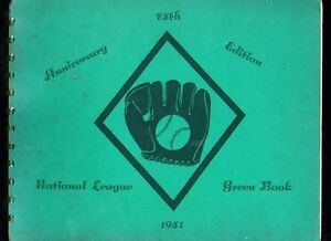 1951 National League Red Book 56-page baseball guide book