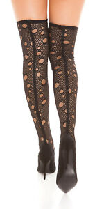 Womens Black Fishnet Ripped Stiletto High Heel Shoes Over Knee Boots UK 6 EU 39