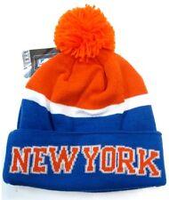 New York Knicks NBA Adidas Blue / Orange Pom Ball Knit Hat Cap Winter Beanie