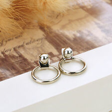 Fashion Women Gold Silver Delicate Circle Geometric Ear Stud Earrings Jewelry