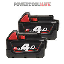 Milwaukee M18B4 18v 4ah li-ion red battery - Twin Pack -  *UK - Genuine Stock*