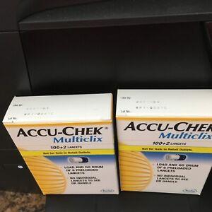 Accu Chek Multiclix Lancets 2 Boxes (204 Lancets) New  Expires 4/2021