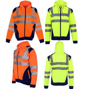 Hi Viz Vis High Visibility Jacket Hoodie Work Zip Hooded SweatShirt Fleece S 5XL