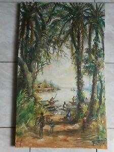 Peinture malgache signée daté 1977.