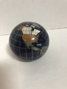 "3.25"" Mineral Globe Paperweight (white Marble,green jade, Lepidolite,Albone)"