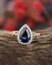 pear sapphire diamond halo engagement anniversary gift ring 14k white gold fn