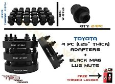24PC M12X1.5 BLACK OEM MAG LUG NUT KIT + 4PC 6X5.5 TOYOTA HUBCENTRIC ADAPTERS