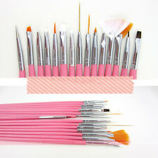 Kit 15X Pennelli Per Nail Art Unghie Ricostruzione Manicure UV Gel Brush Pen Set
