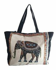 Elephant Shoulder Tote or Shoulder Bag - Black Back & Trim