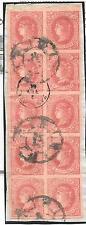 España. Bloque de 10 sellos de 4 ctos con matasello RC y fecha