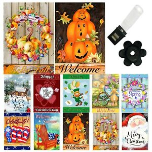 Garden Flags Set of 10 12x18 Inch Double Sided Yard Flags Seasons Holidays