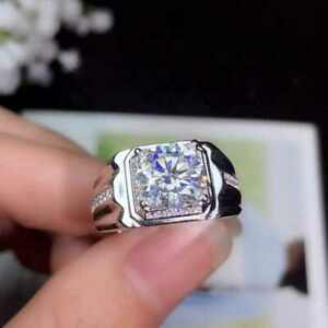 3Ct White Round Diamond Men's Engagement Wedding Ring Solid 925 Sterling Silver