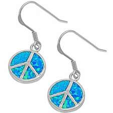 Lab Created Blue Fire Opal Peace Sign .925 Sterling Silver Earrings