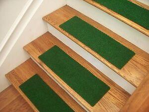 "Premium Carpet Stair Tread Sets - Berber Golf Green - 24"" x 8"""