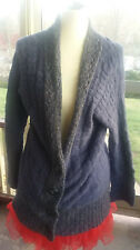 FREE PEOPLE  Urban Outfitters Cardigan Sweater M Blue Cotton Blend Open Front